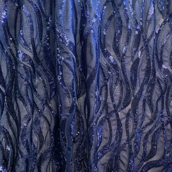 Navy Blue Sequin Mesh Fabric