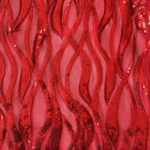 Red Sequin Mesh Fabric - SOLID STONE FABRICS
