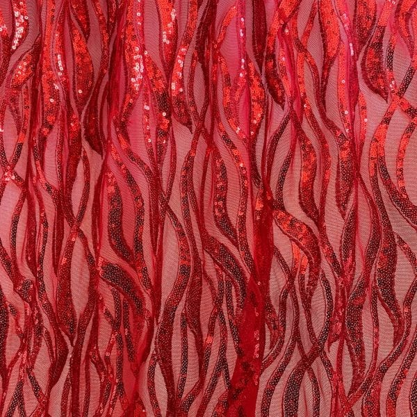 Red Sequin Mesh Fabric
