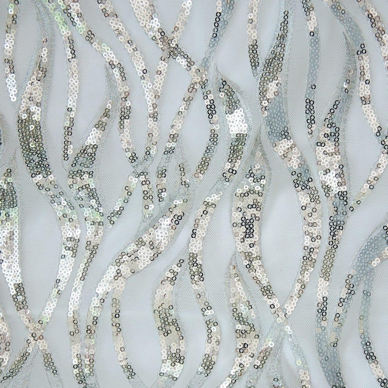 Admire Sequin Mesh – White / Silver