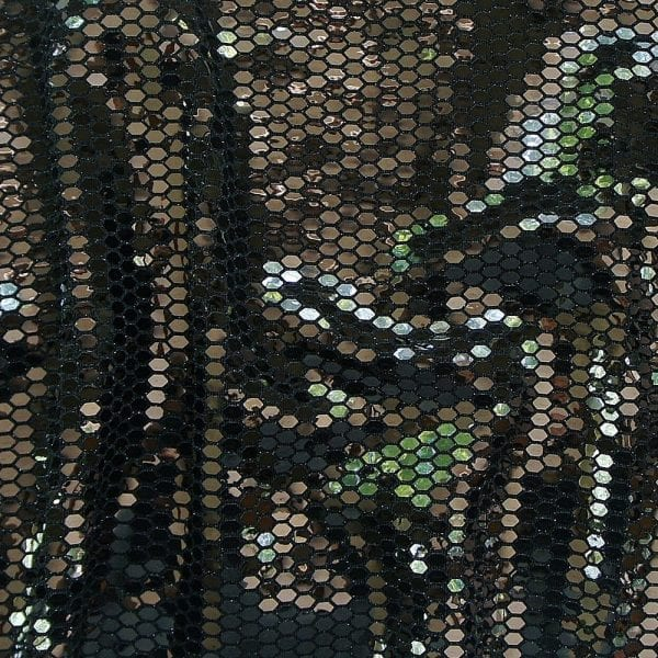 Black Honeycomb Sequin Fabric