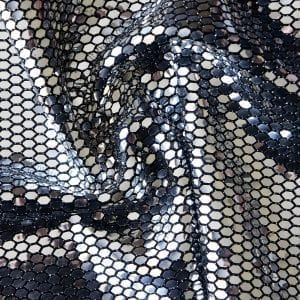 Armor Honeycomb Sequin - Silver/Black features ultra shiny silver flat mirror sequins in a honeycomb pattern on black stretch base fabric.