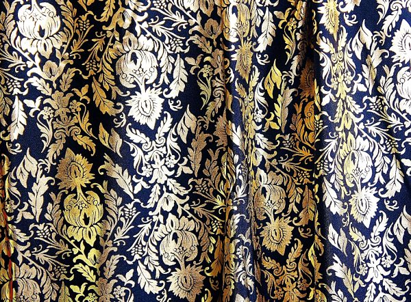 Black Baroque Style Fabric - Metallic Stretch Fabric By The Yard - Solid Stone Fabrics, Inc.
