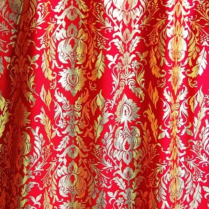 Red Baroque Style Fabric by the Yard. Solid Stone Fabrics, Inc. - Online Fabric Shop