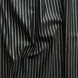 Black Glitter Pinstripe Fabric
