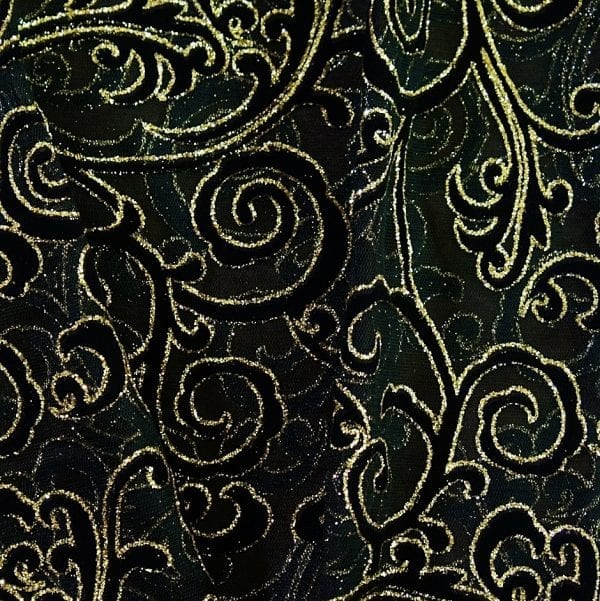 Black Glitter Flocked Mesh Fabric - SOLID STONE FABRICS, INC.