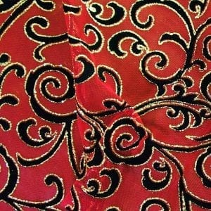 Red Glitter Flocked Mesh Fabric
