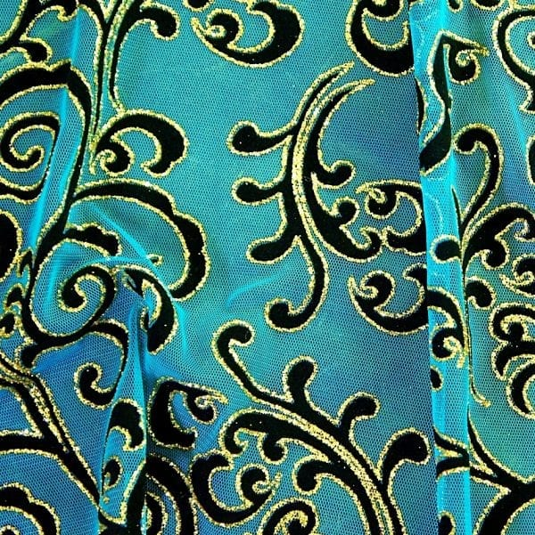 Teal Glitter Flocked Mesh Fabric - BOLERO GLITTER FLOCKED MESH FABRIC - SOLID STONE FABRICS