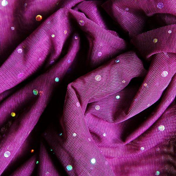 Purple Sequin Dot Mesh Fabric - SOLID STONE FABRICS, INC.