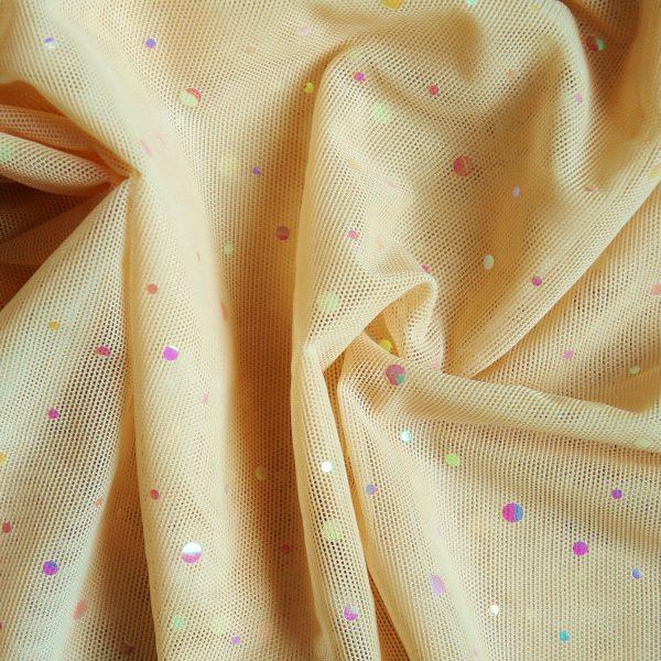 Nude Sequin Dot Mesh Fabric - SOLID STONE FABRICS, INC.