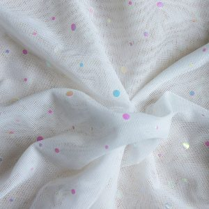 White Sequin Dot Mesh Fabric - SOLID STONE FABRICS, INC. - MESH FABRIC BY THE YARD
