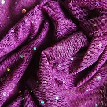 Purple Sequin Dot Mesh Fabric
