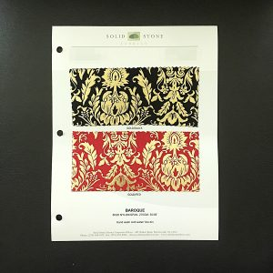 "Baroque Style Fabric Swatches / Color Card features full size ""feeler"" fabric swatches and all available fabric colors on one card for your convenience. Designed to fit inside a three ring binder for easy reference!"