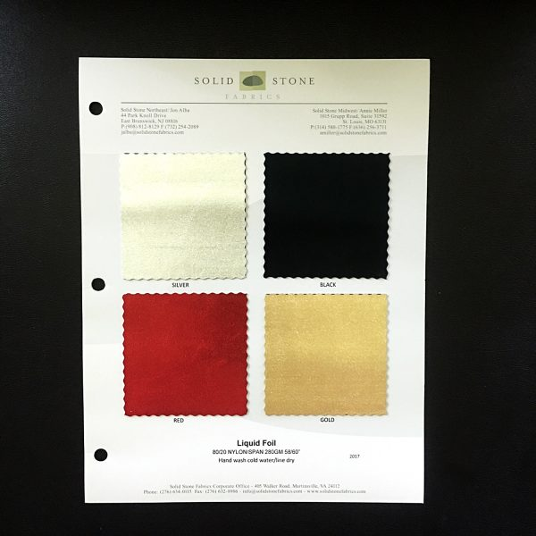 "Metallic Lame Fabric Swatches / Color Card features full size ""feeler"" fabric swatches and all available fabric colors on one card for your convenience. Designed to fit inside a three ring binder for easy reference!"