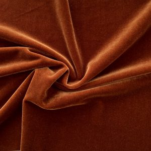 Solid Cognac Brown Velvet Fabric - Brown Velvet Fabric By The Yard - Solid Stone Fabrics, Inc.