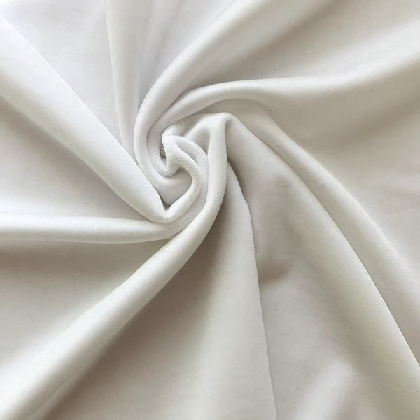 Solid White Velvet Fabric - White Stretch Velvet By The Yard - Solid Stone Fabrics, Inc.