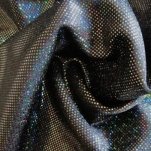 Black medium dot hologram spandex fabric featuring black stretch base fabric topped with black holographic foil, for brilliant shine and sparkle.