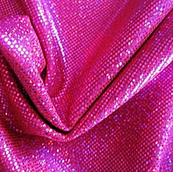 Fuchsia medium dot hologram spandex fabric featuring red stretch base fabric topped with fuchsia holographic foil, for brilliant shine and sparkle.