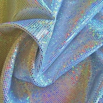 Silver medium dot hologram spandex fabric featuring white stretch base fabric topped with silver holographic foil, for brilliant shine and sparkle.