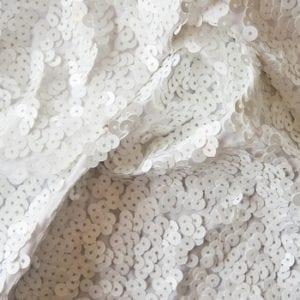 Full Coverage White Sequin Fabric