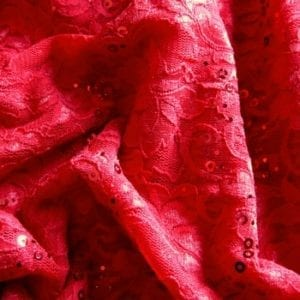 Red Lace Fabric with Sequins