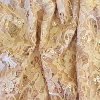 Nude Lace Fabric with Sequins