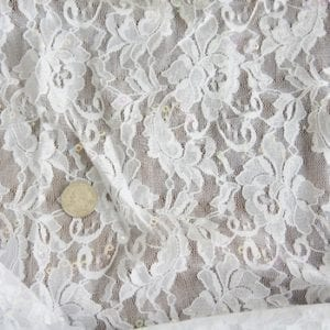 White Lace Fabric with Sequins