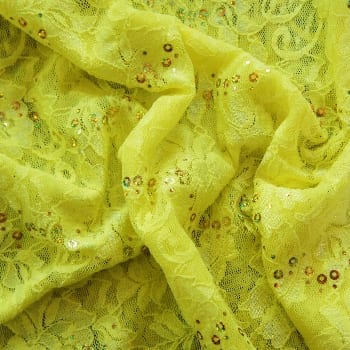 Yellow Lace Fabric with Sequins