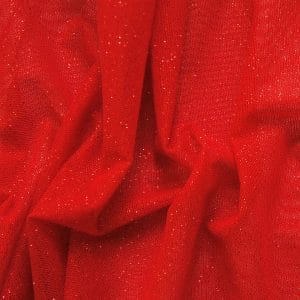 Red Glitter Mesh fabric features all over red glitter on 2-way stretch red polyester mesh making it ideal for both semi-fitted and draped garments.