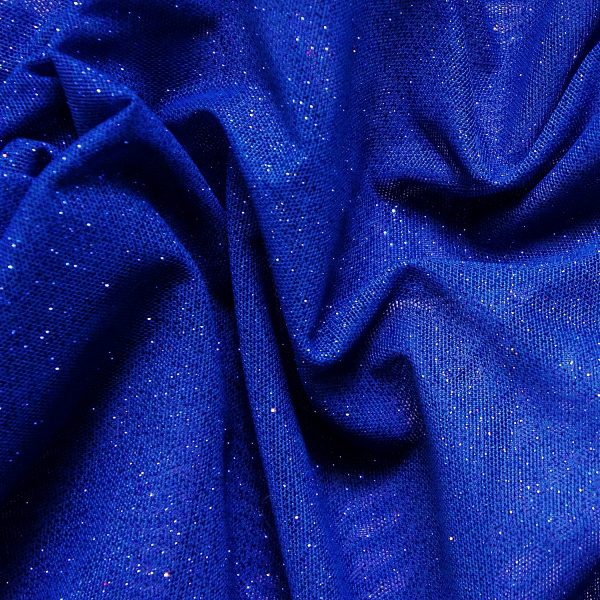 Blue Glitter Mesh fabric features all over royal blue glitter on 2-way stretch royal blue polyester mesh making it ideal for both semi-fitted and draped garments.