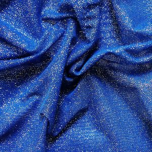 Royal Blue Glitter Mesh fabric features all over silver glitter on 2-way stretch royal blue polyester mesh making it ideal for both semi-fitted and draped garments.