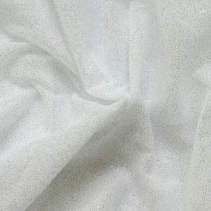 White Glitter Mesh fabric features all over silver glitter on 2-way stretch white polyester mesh making it ideal for both semi-fitted and draped garments.