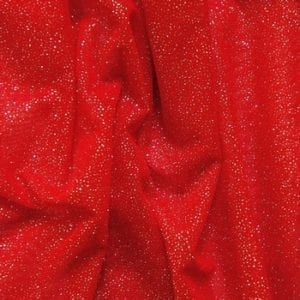 Red Silver Glitter Mesh fabric features all over silver glitter on 2-way stretch red polyester mesh making it ideal for both semi-fitted and draped garments.