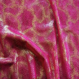 Fairydust Fuchsia Foil Mesh Fabric features an enchanting gold foil pattern on sheer, fuchsia non-stretch mesh base fabric for a soft, dreamy glow.