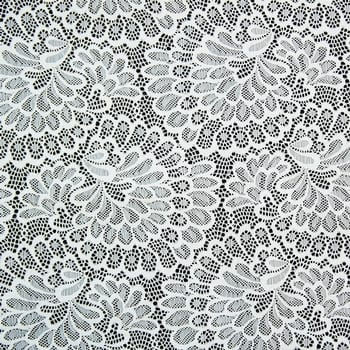 White Stretch Floral Lace Fabric