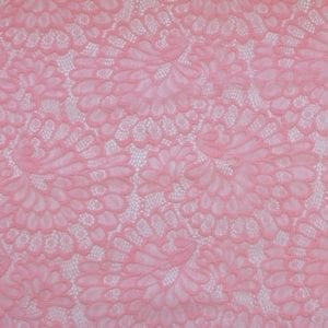Pink Stretch Floral Lace Fabric