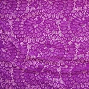 Plum Stretch Floral Lace Fabric