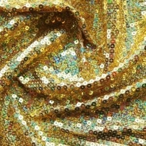 Gold Sequin Stretch Fabric
