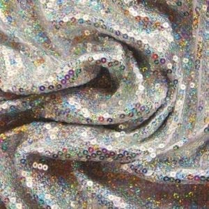 Silver Sequin Stretch Fabric