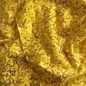 Yellow 3mm Swirl Sequin Fabric