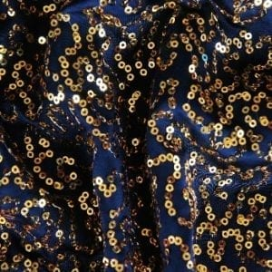 GaGa Black Gold 3mm Swirl Sequin Fabric