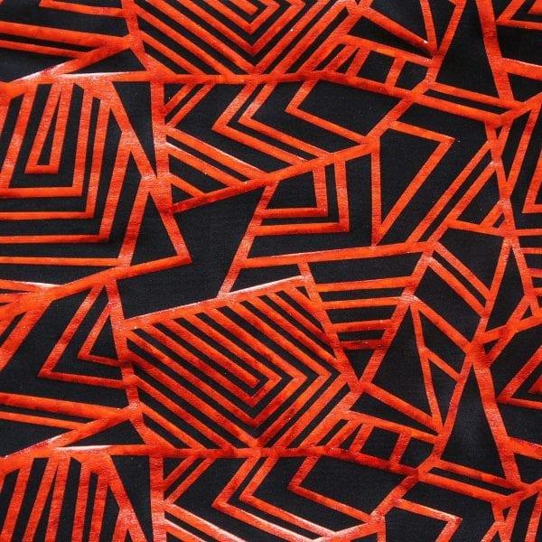 Red Geometric Hologram Fabric
