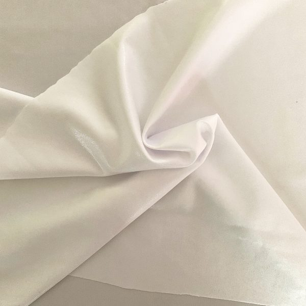 Clear White Mystique Spandex Fabric is perfect for dance, cheer, bows, gymnastics, figure skating, costume, cosplay, apparel and more.