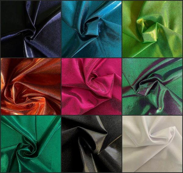 Popular Mystique metallic foil stretch fabric, known for its sleek shine effect. Especially stunning when combined with motion and light. Perfect for dance, cheer, bows, gymnastics, figure skating, costume, cosplay, apparel and more.