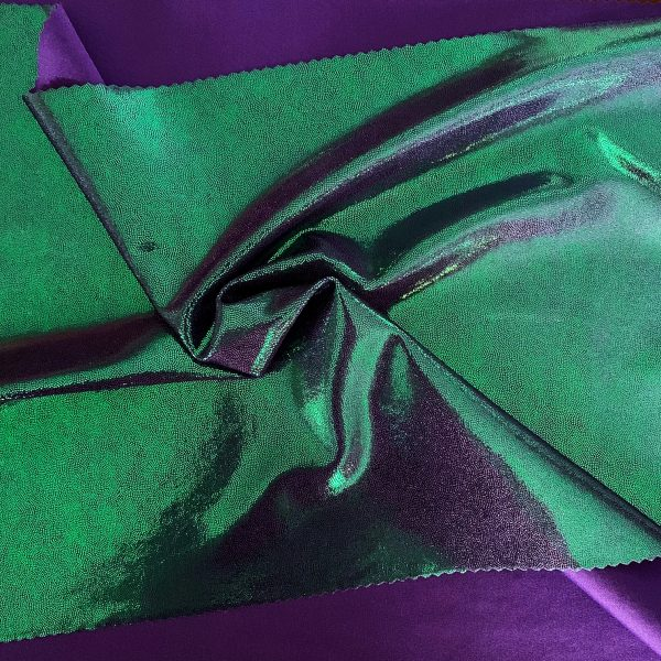 Green Lavender Two Toned Mystique Stretch Fabric is perfect for dance, cheer, bows, gymnastics, figure skating, costume, cosplay, apparel and more.