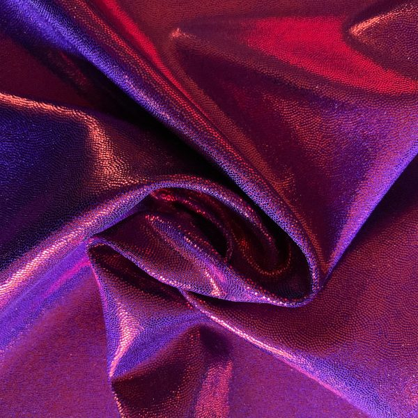 Red/Purple Two Toned Mystique Spandex Fabric is perfect for dance, cheer, bows, gymnastics, figure skating, costume, cosplay, apparel and more.
