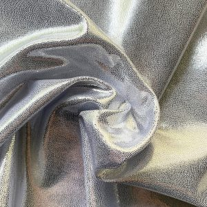 Silver Mystique Spandex Fabric is perfect for dance, cheer, bows, gymnastics, figure skating, costume, cosplay, apparel and more.