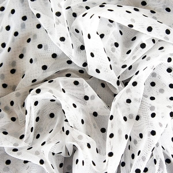 Flocked Polka Dot Mesh Fabric - SOLID STONE FABRICS, INC.