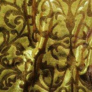 Gold Brown Embossed Velvet Fabric