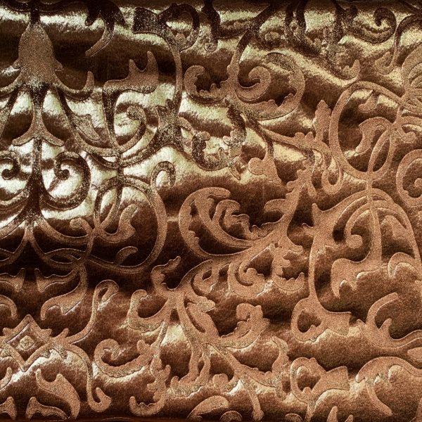 Gold Brown Embossed Velvet Fabric - Velvet Fabric By The Yard - Solid Stone Fabrics, Inc.